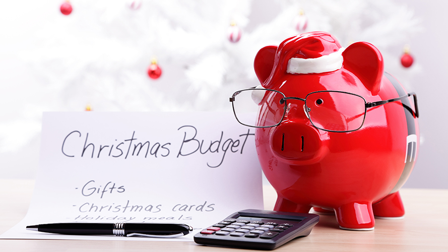 red and white piggybank with budget list